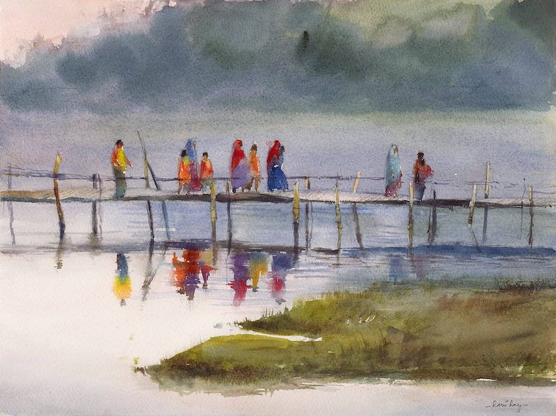 Indian Summer,Premium Art Print The Wedding Guests Original watercolor by Rani Ray Indian home d\u00e9cor Indian painting Indian art