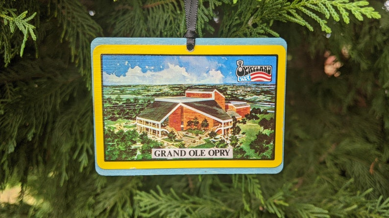 Grand Ole Opry House Opryland USA Christmas ornament Nashville, TN Handmade from vintage promotional materials!