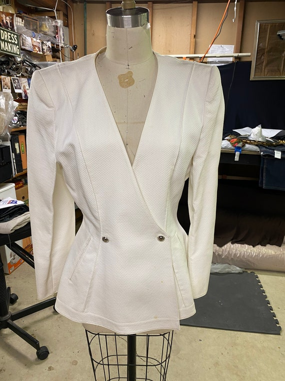 Claude Montana Paris white fitted jacket