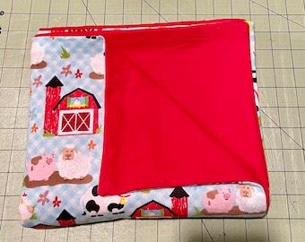 Cozy Farm Animals Flannel Baby Blanket