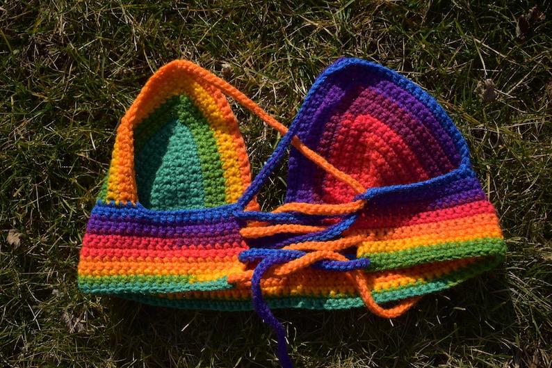 Size M-L Crochet Rainbow Bralette