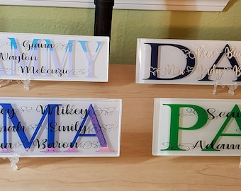 Fathers Day Gift Glass Tile Personalized Plaque Dad Grandpa