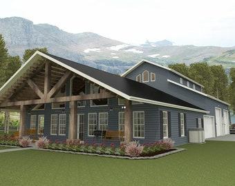 Brn07d-house floor plans-1,932 sqft.-4 bedroom,3 bath,1 story barn style bardominum