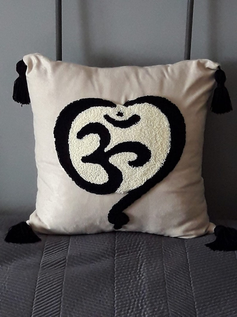 Punch Needle Throw Pillow Cover Ohm Symbol Handmade Pillow Cover Cushion and Punch Needle Modern Home Decor