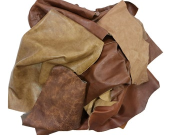2 LB Leather Scrap Bags Mixed Buffalo