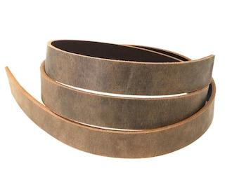 Veg tan leather belt blanks strip strap 3.5-4mm thick 20mm width 4 colour