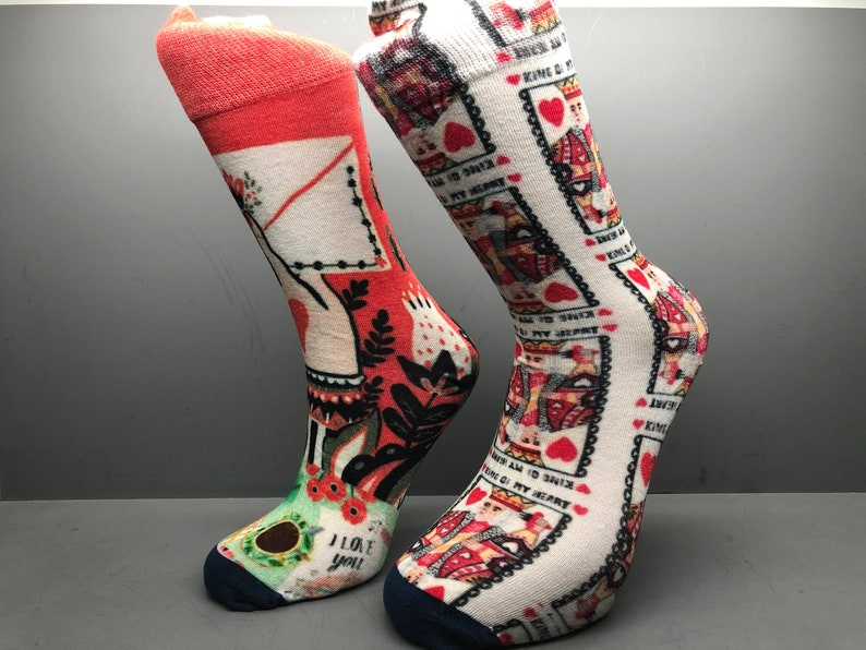 gift for him King of my heart and valentines letter socks valentines day gift gift for her bamboo socks funny socks crazy socks