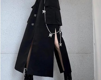 Korean Gothic High Waist Skirt, Plus Sized Goth, Gothic Lolita Skirt, Cottagecore y2k Pocket Skirt, Goth Clothing Women, Pastel Mall Gothic