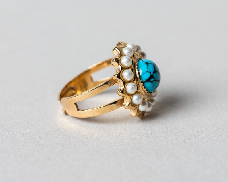Antique /& Vintage Style Gold vermeil Sterling silver ring Inspired in jewel from The Victorian Era Genuine Turquoise Gemstone Ring