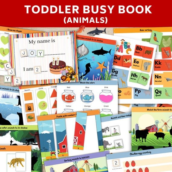 Toddler busy book bundle printable  Animals busy book