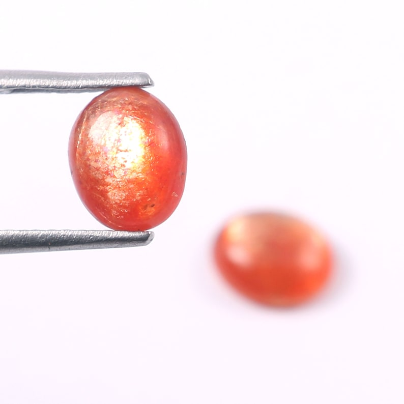 2 Carat- Sunstone Oval Cabochon Natural Sunstone SS04 Sunstone gemstone AAA Quality Sunstone Cabochon 8X6.5 To 7.5x6.5 mm