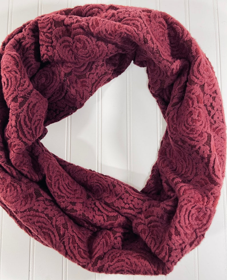 Infinity Scarf burgundy Burgundy Lacey floral infinity scarf-Burgundy Infinity scarf-birthday gift for mom Mother\u2019s Day gift