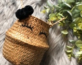 Mini Seagrass Natural Woven Basket for plants and storage with handles in boho design - can be personalised with your design