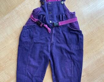 Vintage BRAVO! For Kids  pink purple wash denim overalls - Size 6