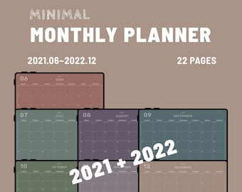 MINIMAL - 2021-2022 Digital Planner  - 22pages Minimal Monthly Planner - GoodNotes and Notability Templates, Hyperlinked PDF