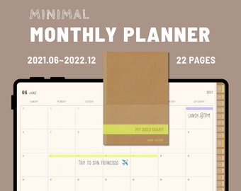 MY2022DIARY_M - Digital Planner 2022 Monthly pages only version - GoodNotes and Notability Templates, Hyperlinked PDF