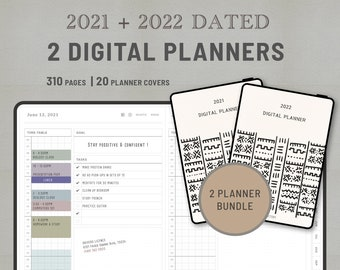 SIMPLE - Digital Planner 2021 2022 Bundle - 310pages, Hyperlinked pdf file for GoodNote / NoteShelf / Samsung Note etc