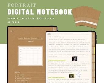 NOTEBOOK - Portrait 5 Digital Notebooks bundle - GoodNotes and Notability Templates, Hyperlinked PDF