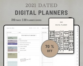 SIMPLE - Digital Planner 2021 - 310pages, Hyperlinked pdf file for GoodNote / NoteShelf / Samsung Note etc