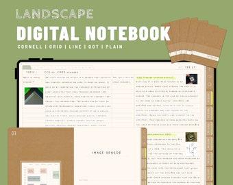NOTEBOOK - Landscape 5 Digital Notebooks bundle - GoodNotes and Notability Templates, Hyperlinked PDF