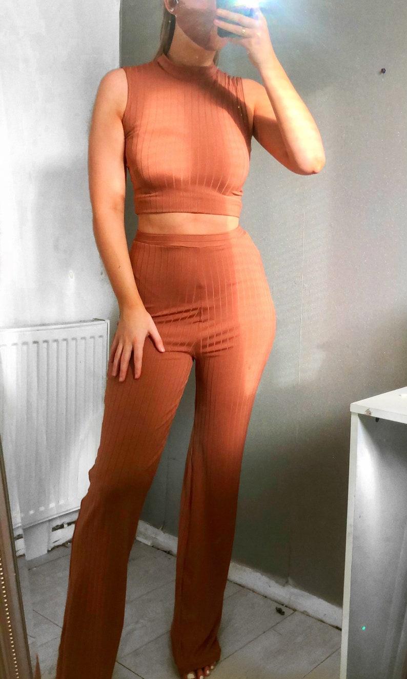 Crop top /& wide leg ribbed loungewear set