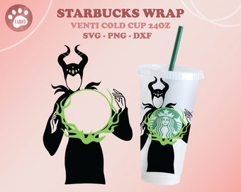 Evil Queen Starbucks SVG, Halloween, Sleeping Beauty, full wrap Starbucks Venti cold cup 24oz. dxf, png, svg file for Circut, digital file