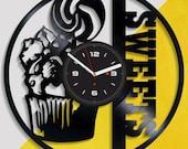 Vinil Clock sweets, Wall Clock, Vinyl Art, Wall Art, Christmass Gift, Home Decor Clock, sweets 3211