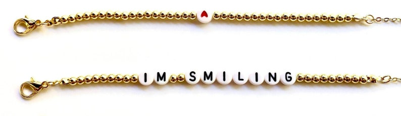 Gold Chain -Sunglass Chain Mask Chain /'I/'m Smiling Quote Mask Chain Beaded Lanyard Mask Holder Glasses Holder Gold Beaded