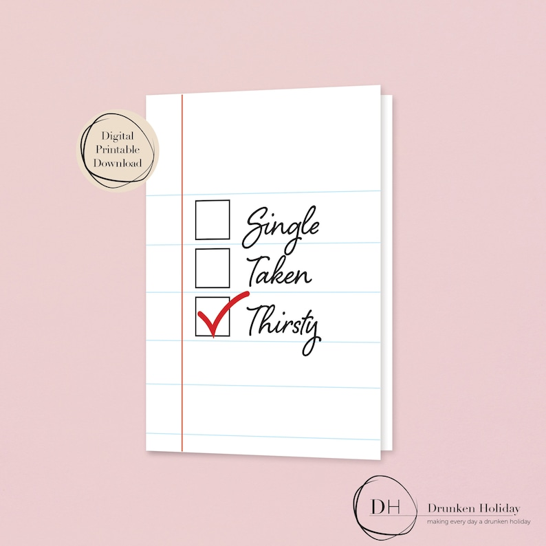 Funny Valentine/'s Day Card 4-Pack Printable Digital Files Only