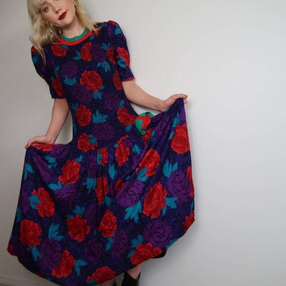 Vintage 80's rose print dress
