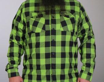 NexGen MNG11636 Men/'s Green and White Long Sleeve Cotton Flannel Shirt