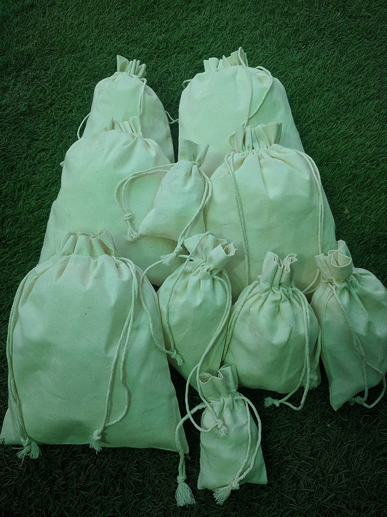 12.7x17.7 cm 200 pcs of 5x7 Inch Organic Cotton Double Drawstring Reusable Pouch Gift bags Beautiful Closure