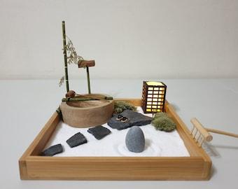 Mini Zen Garden with Japanese bamboo water fountain #Wabi Sabi series #miniature #decor #gift # tabletop / desktop zen garden