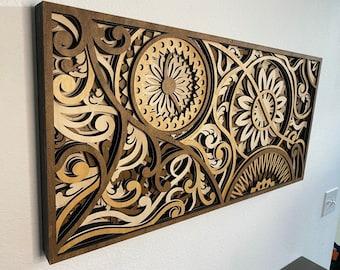 Flower Carnival - Laser-cut Wood Art | Handcrafted Art | Uncommon Art | 3D Art |  Unique Art| All Natural Art | Rare Art