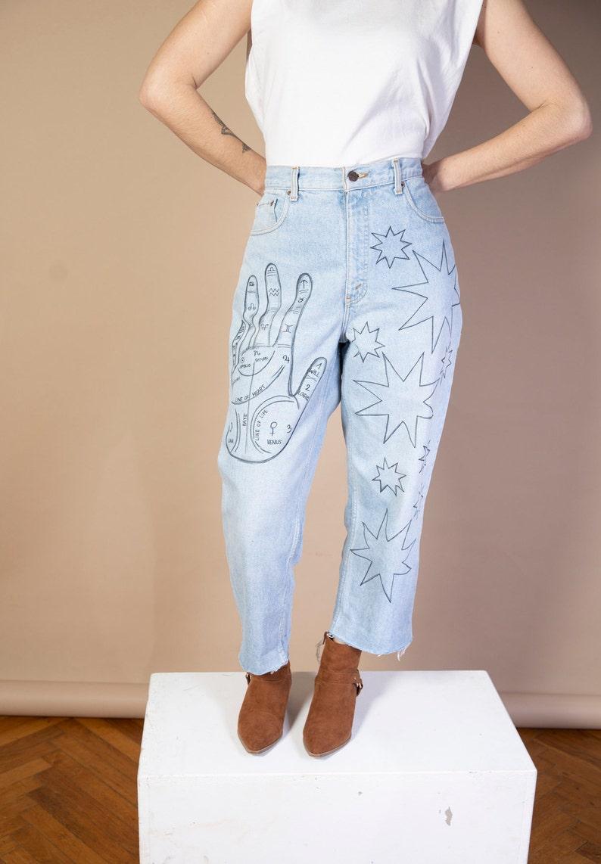 Vintage Handpainted Jeans Levi\u2019s Mom Jeans Size EU42 US10