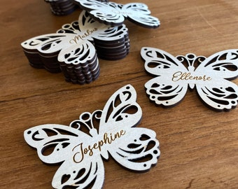 Wood butterfly name tag