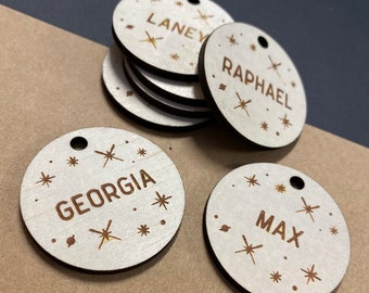 Space Theme wood gift tag