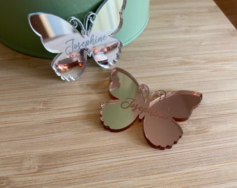 Mirror mini butterfly placecard