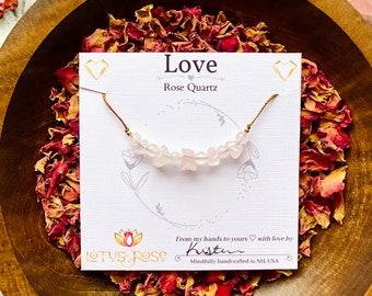 Rose Quartz Necklace, healing crystal necklace, crystal layering necklace, Rose Crystal Necklace, Intention necklace