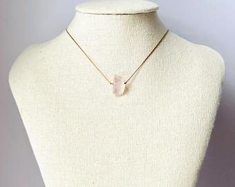 Rose Quartz Necklace, Healing Crystal Necklace, Rose Quartz Jewelry
