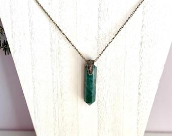 Moss Agate Necklace, Talisman Necklace, Large Stone Pendant, Green Stone Necklace, Earthy Necklace