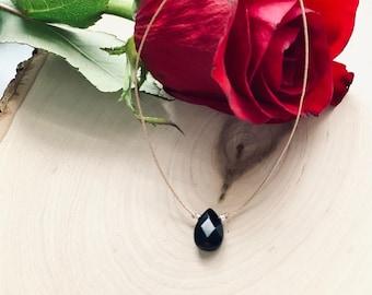 Black Onyx Necklace, Floating Gemstone Necklace, healing crystal necklace, dainty gemstone choker