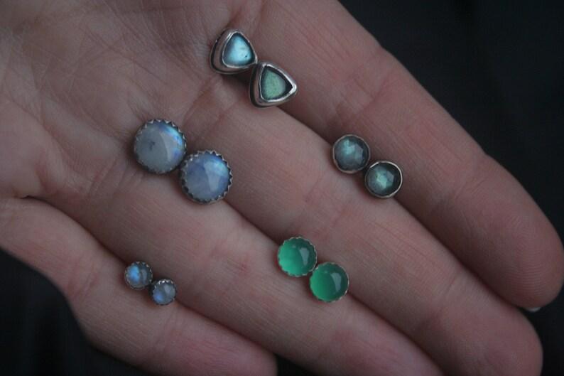 Green Onyx Earrings Studs 6mm Natural Gemstones Handmade Sterling Silver Pair of Earring Studs