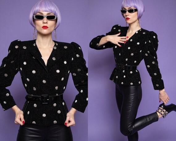 Lanvin vintage 80's black velvet polka dot & spark