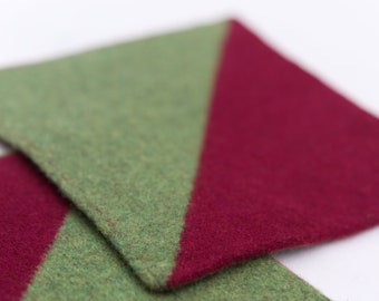 Potholders / Coasters | Diagonal Color Block | Set of 2 | Doubleface| Knitted and Felted | Merino Wool
