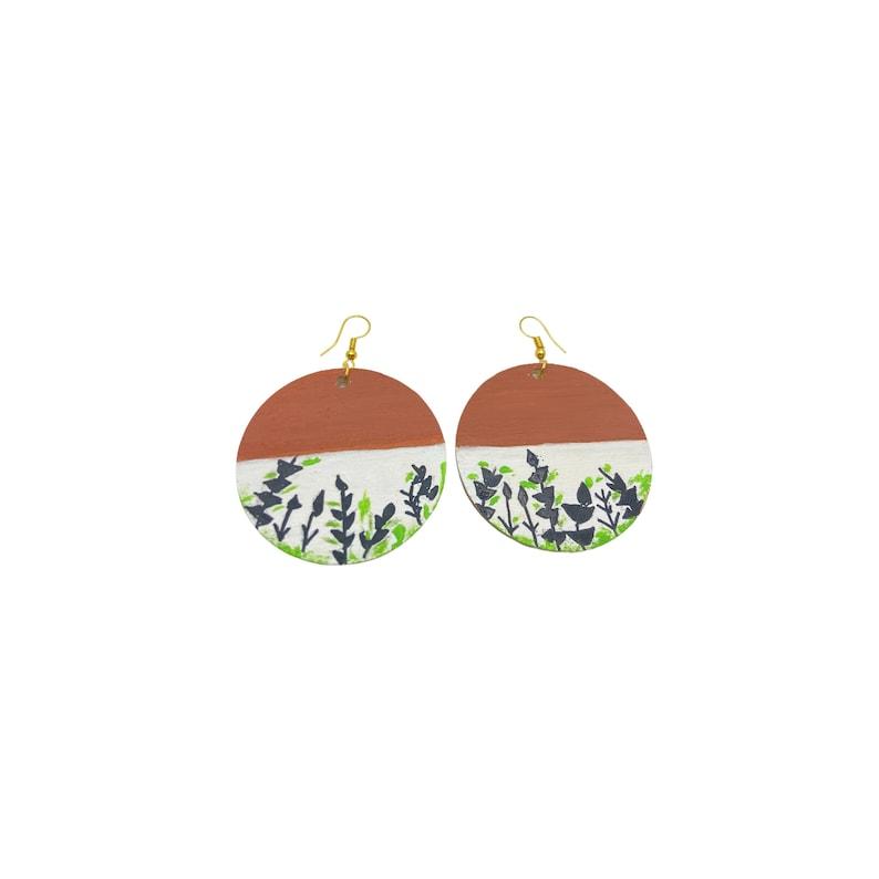 hand painted earrings Wooden