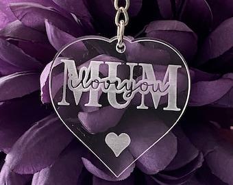 "Mum or Mom, ""ILove You""Heart Keyring"