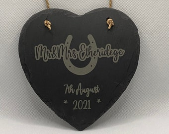 Personalised Hanging Slate Engraved Wedding Plaque, Wedding Gift for Couples, Custom Wedding, Newlywed Gift, Wedding Celebration Gift,