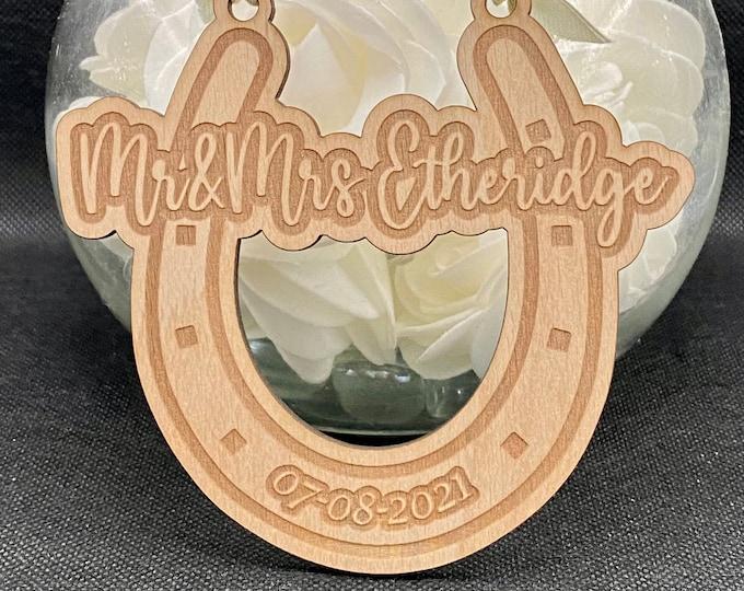 Featured listing image: Personalised Good Luck Wedding Horseshoe, Lucky Wedding Decoration, Horseshoe for Bride, Wedding Gift for Bride & Groom, Custom Wedding Gift