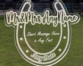Personalised Lucky Horseshoe Wedding Gift with Custom Message for Bride & Groom, Custom Wedding Gift, Engraved Acrylic Wedding Horse Shoe